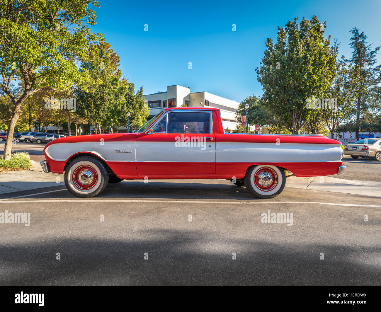 Vintage Red Ford Pickup Truck Stock Photos & Vintage Red