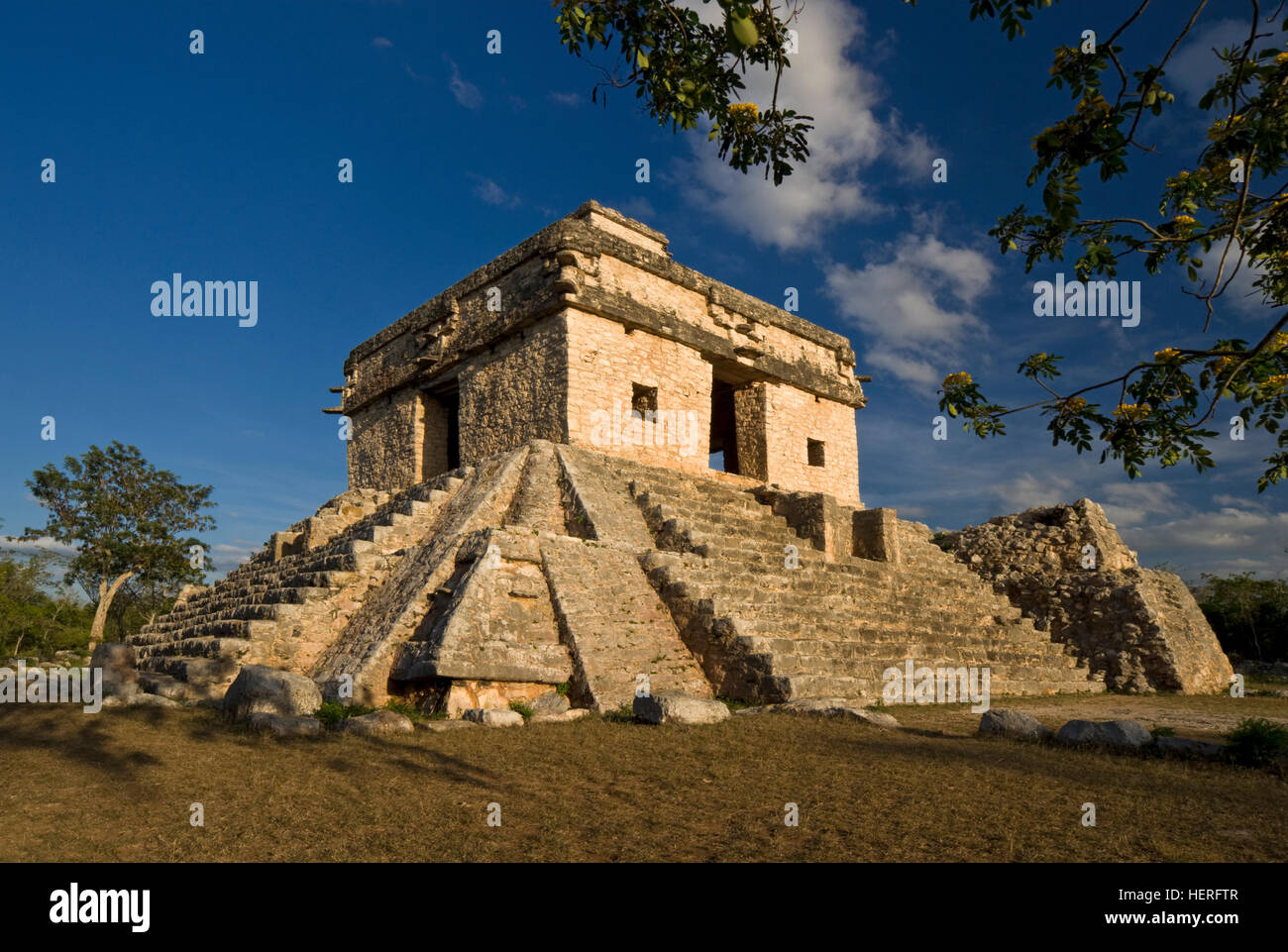 Observatory, Temple of the Seven Dolls, Maya ruins, Dzibilchaltún, Mérida, Yucatán, Mexico - Stock Image