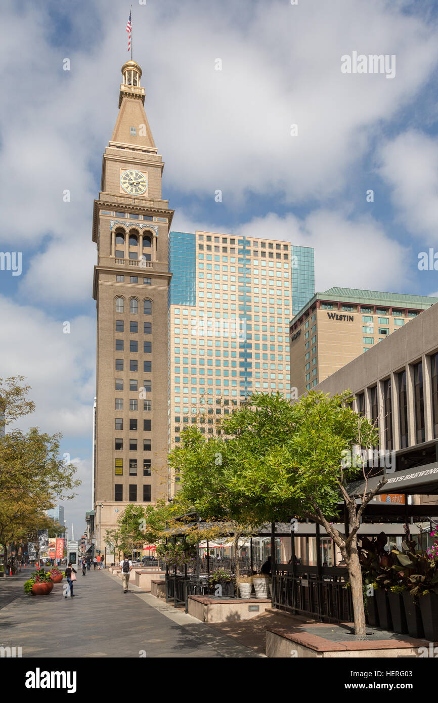 Daniels and Fisher Tower, 16th Street, Lower Downtown, Denver, Colorado, USA - Stock Image