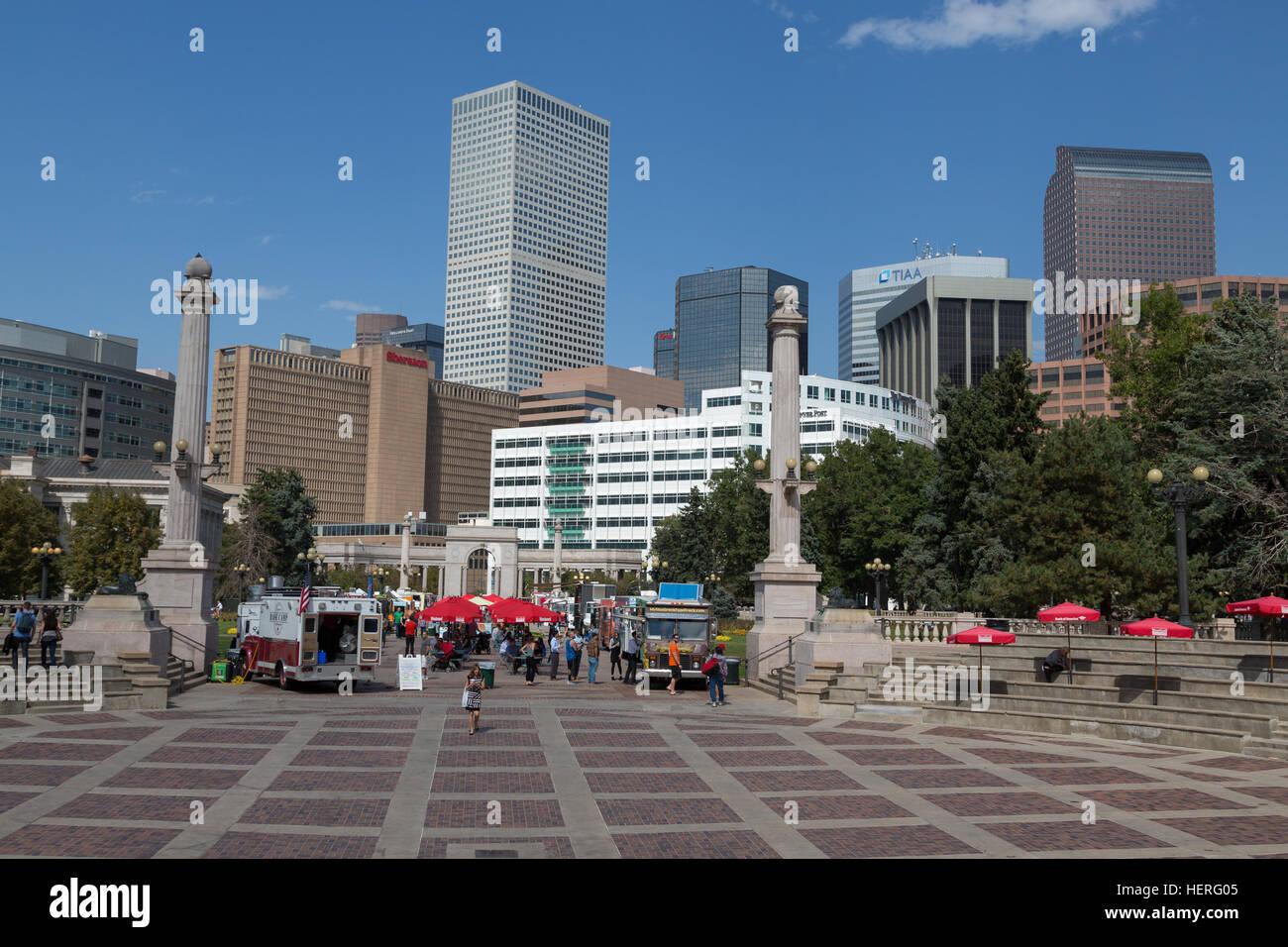 Skyline, Downtown Denver, Denver, Colorado, USA - Stock Image