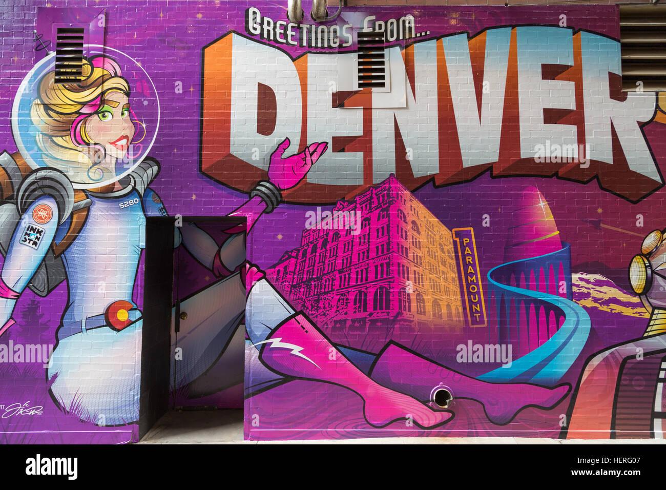 Graffiti, Lower Downtown, Denver, Colorado, USA - Stock Image
