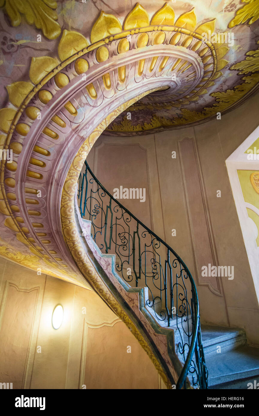Spiralling staircase, Melk Abbey, Melk, Wachau, Austria Stock Photo