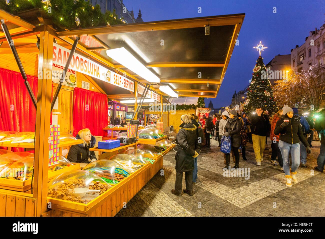 Christmas markets, Wenceslas Square, Prague, Czech Republic - Stock Image