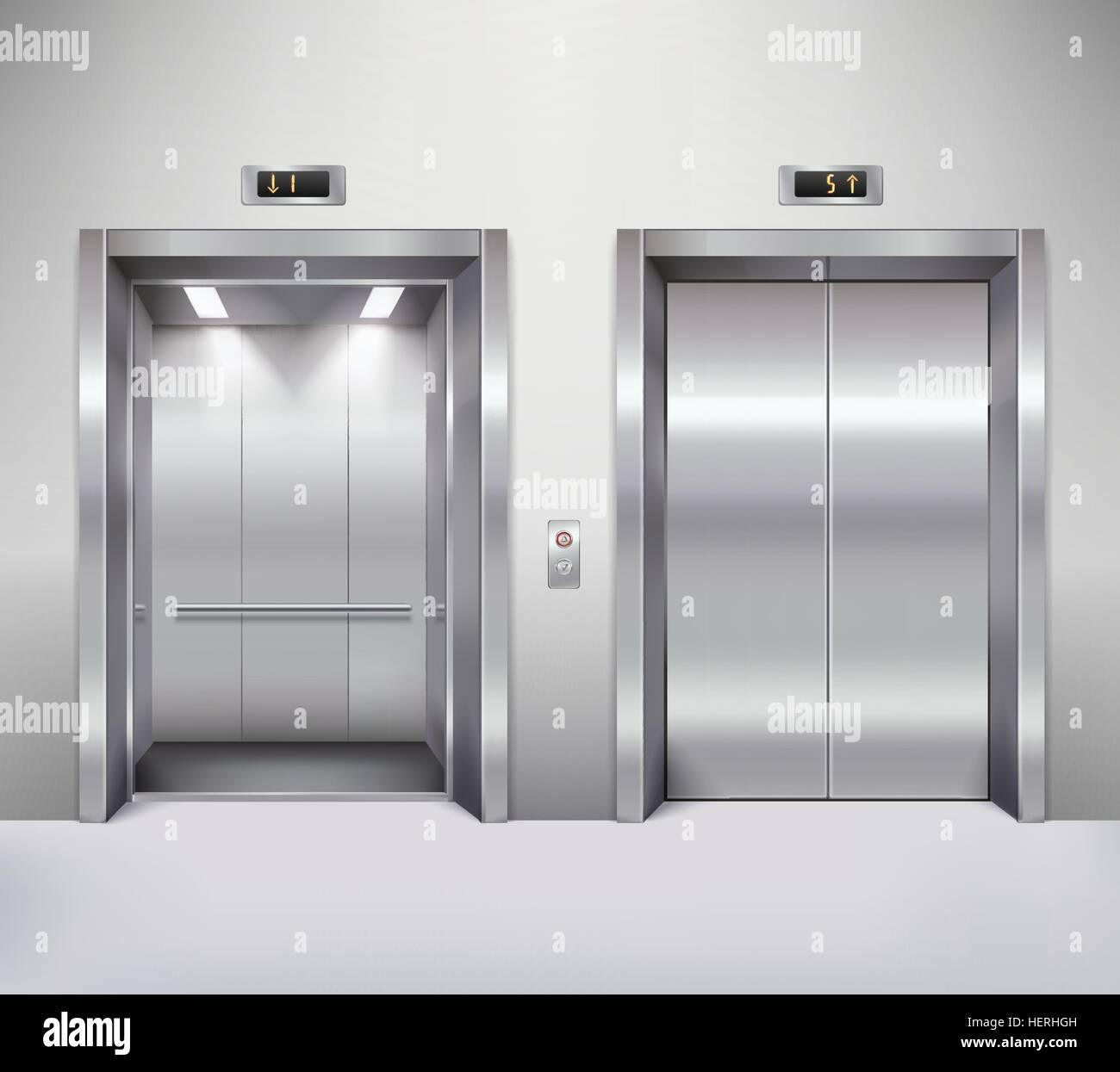 Elevator Door Illustration Open And Closed Chrome Metal