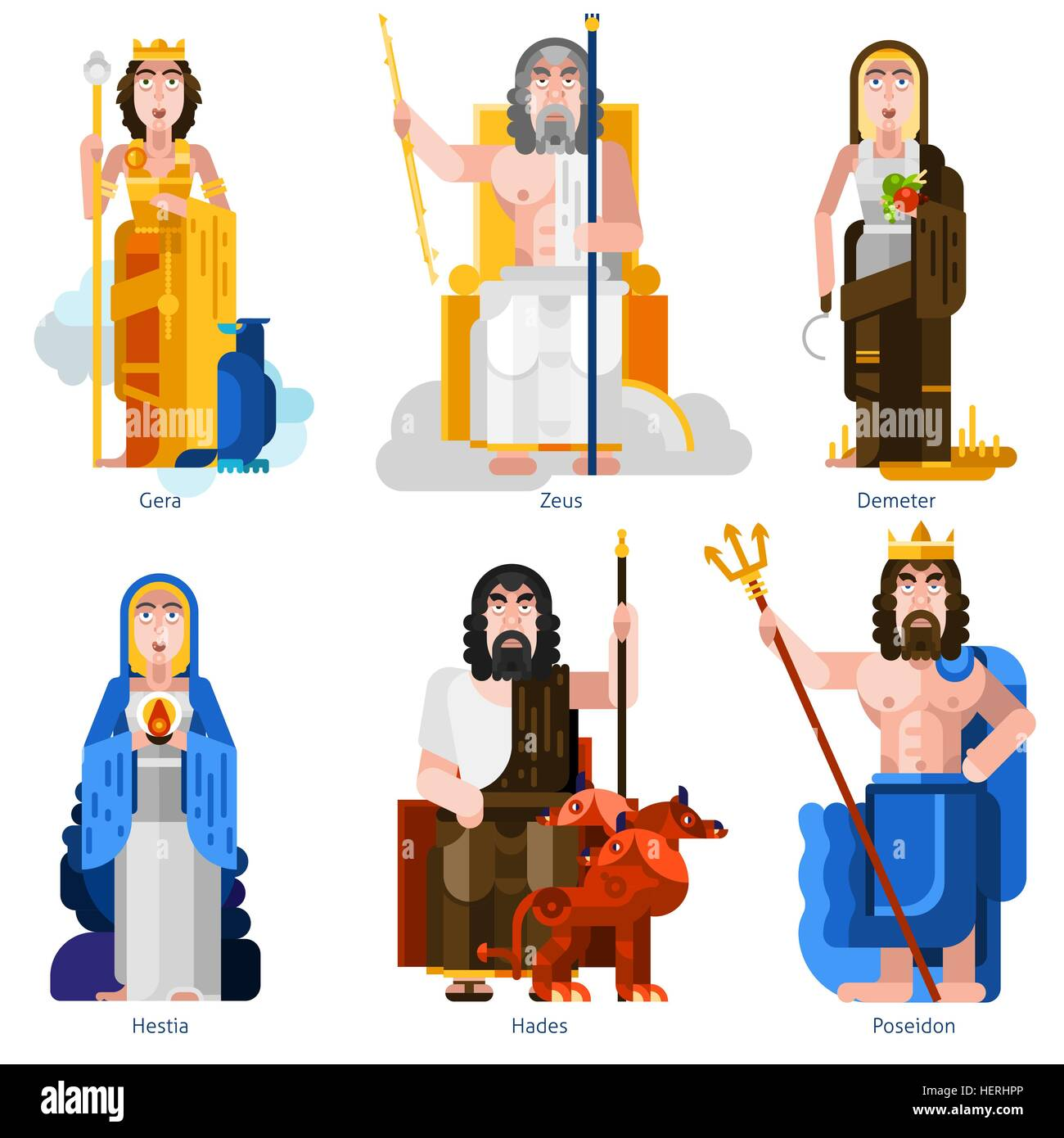 Olympic Gods Decorative Icons Set. Color olympic gods icons set in cartoon style on white background with gera zeus - Stock Vector