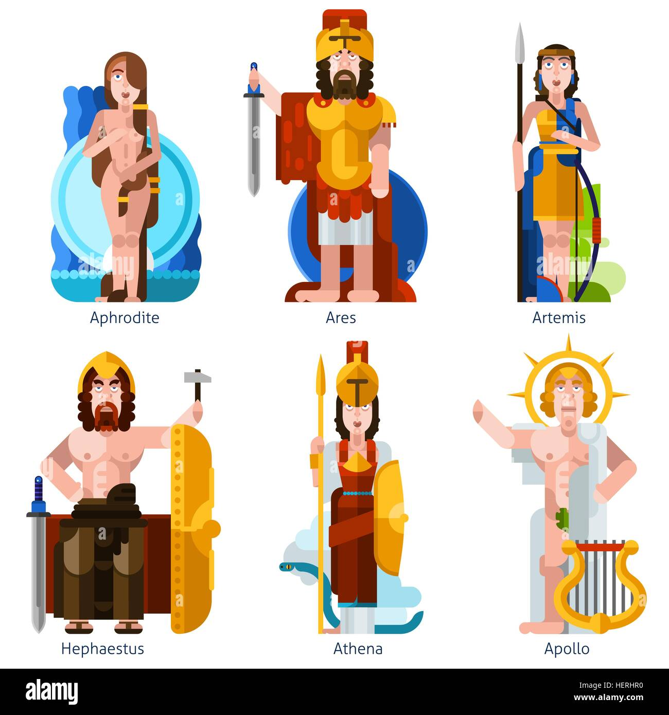 Flat Color Olympic Gods Icons Set. Flat color olympic gods icons set in cartoon style with aphrodite ares artemis - Stock Vector