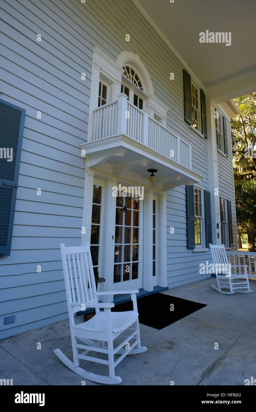 Front Porch Of Plantation House With Rocking Chairs