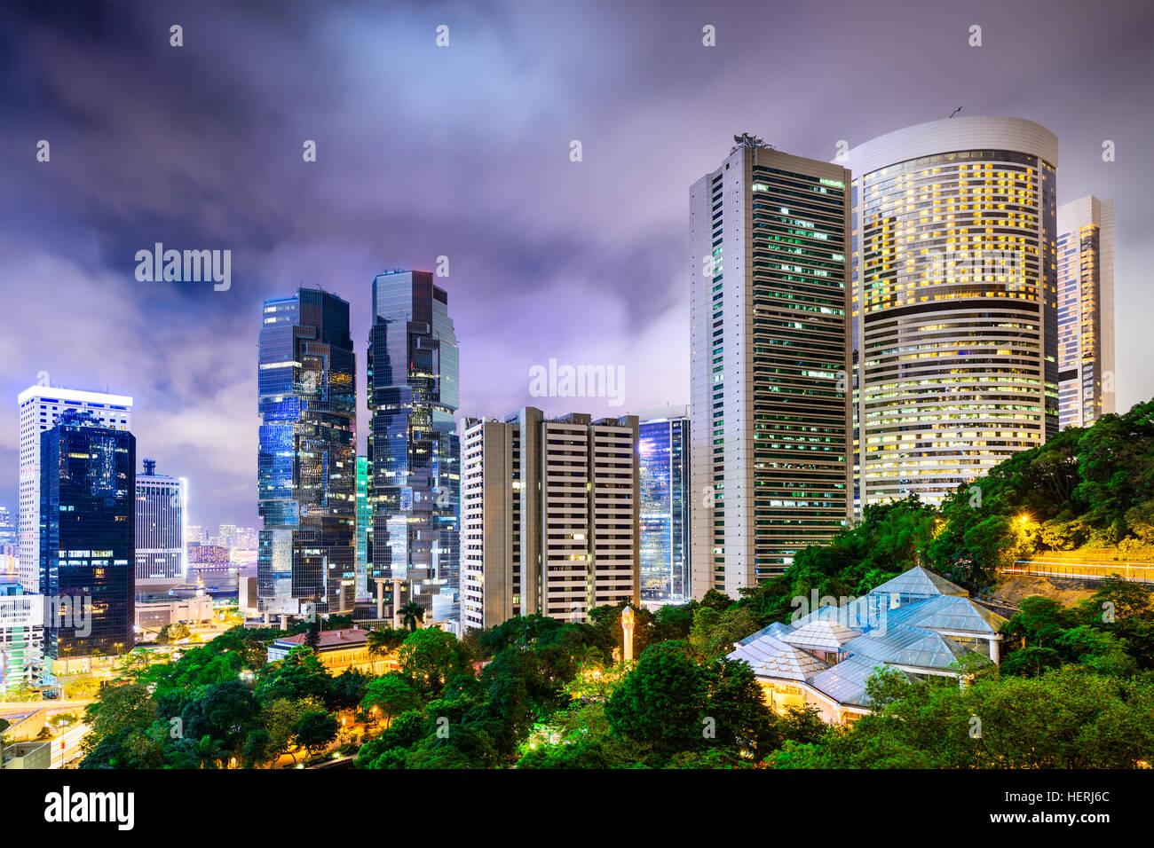Hong Kong, China cityscape from Hong Kong Park. - Stock Image