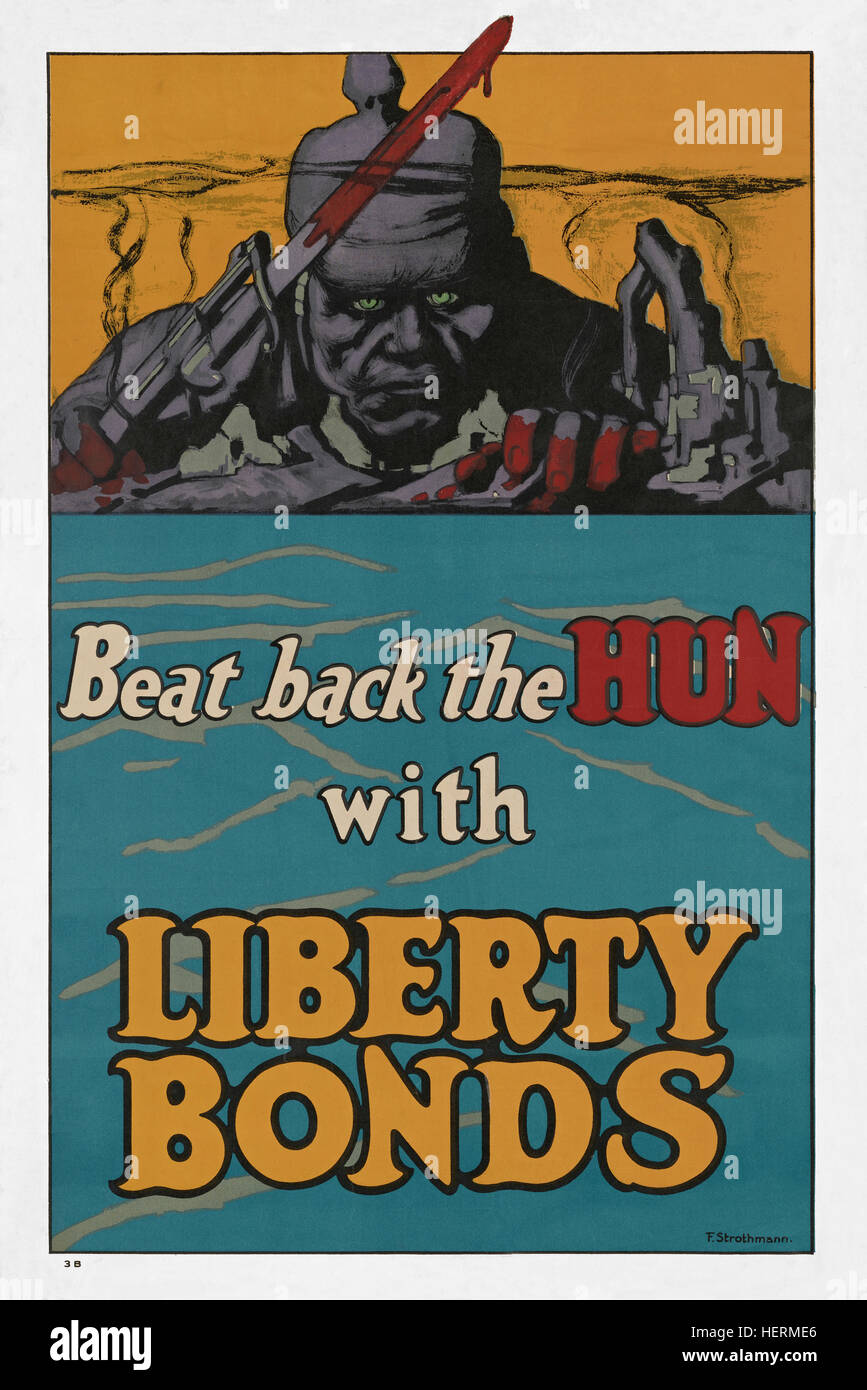 American WWI Liberty Bond poster issued 1918. A war bond that was sold in the United States to support the allied - Stock Image