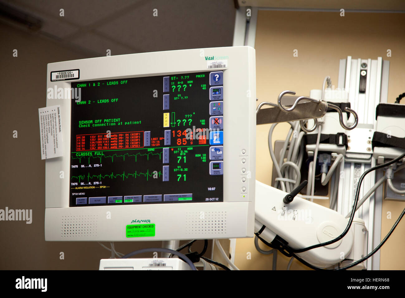 Hospital screen for visually monitoring patient vital signs. Minneapolis Minnesota MN USA - Stock Image