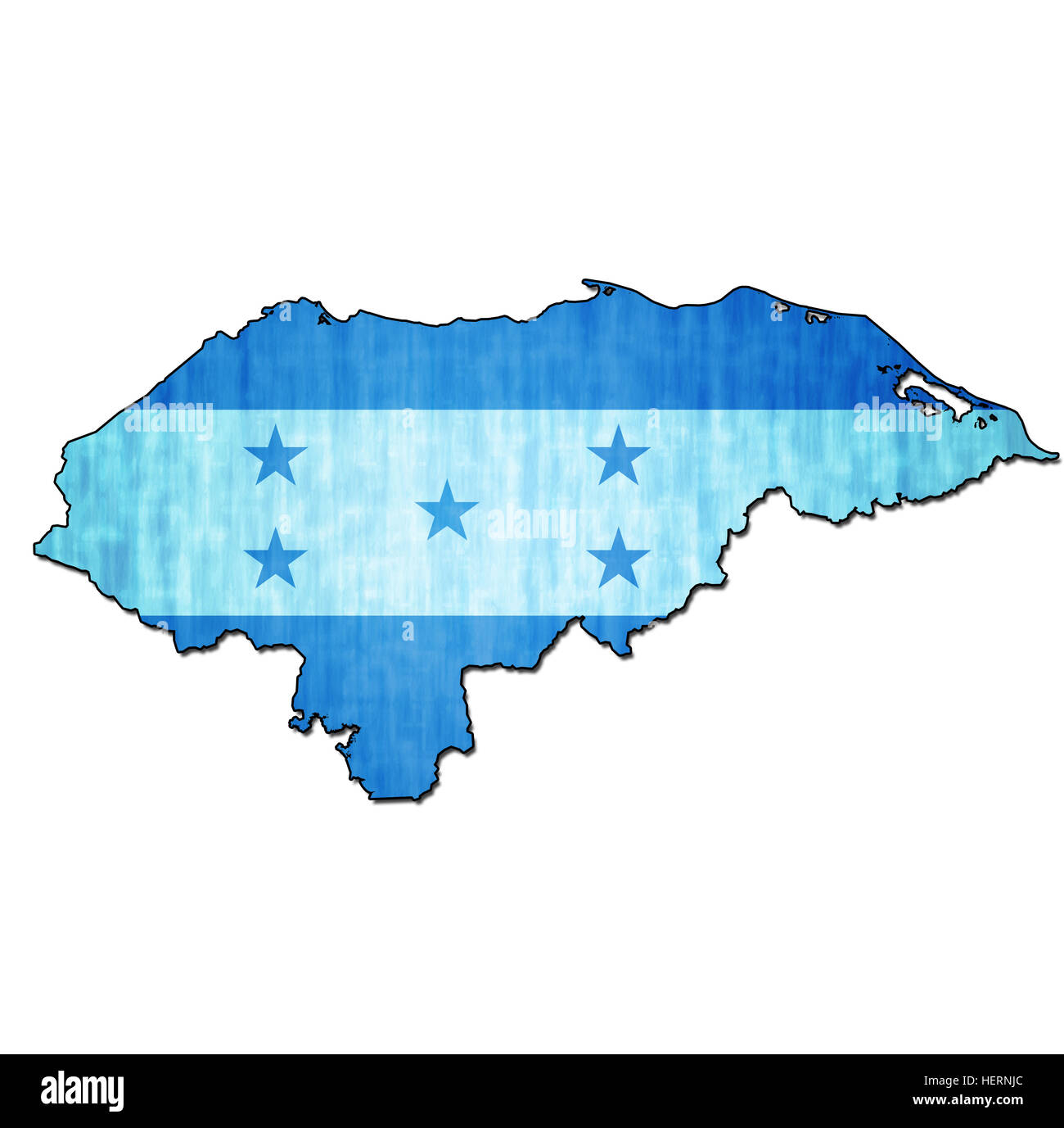 map with flag of honduras with national borders Stock Photo
