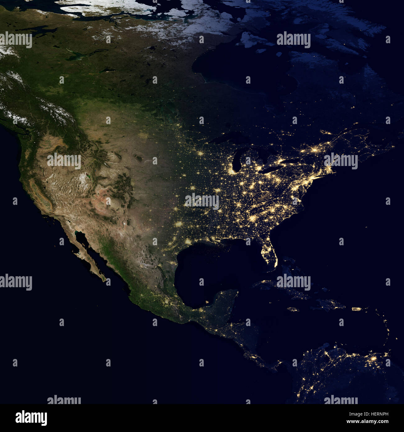 city lights on world map north america