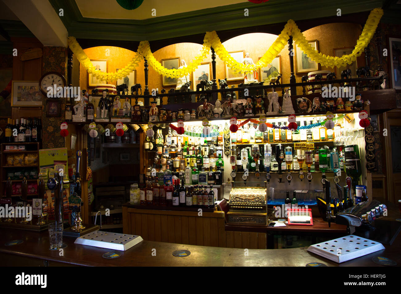 The interior of an English Victorian Pub/Bar with festive decorations, taken in Durham, England. - Stock Image