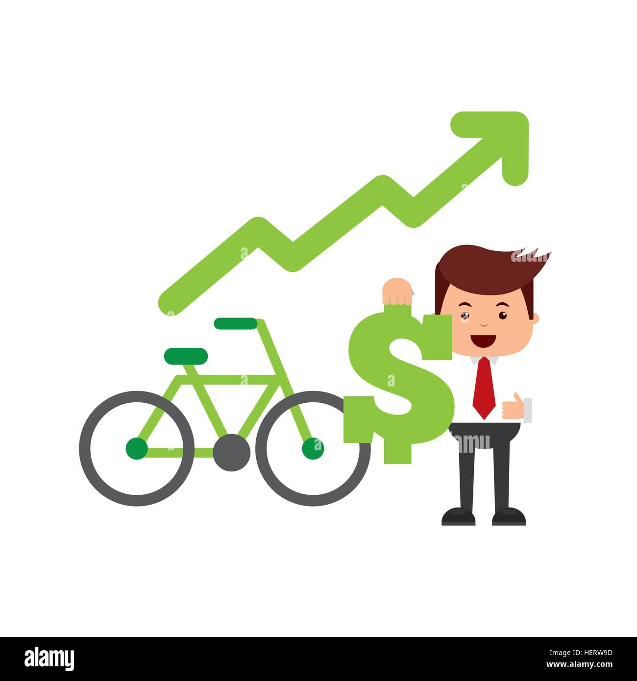 businessman holding a money sign and bicycle icon over white background. think green and sustainability design. - Stock Image