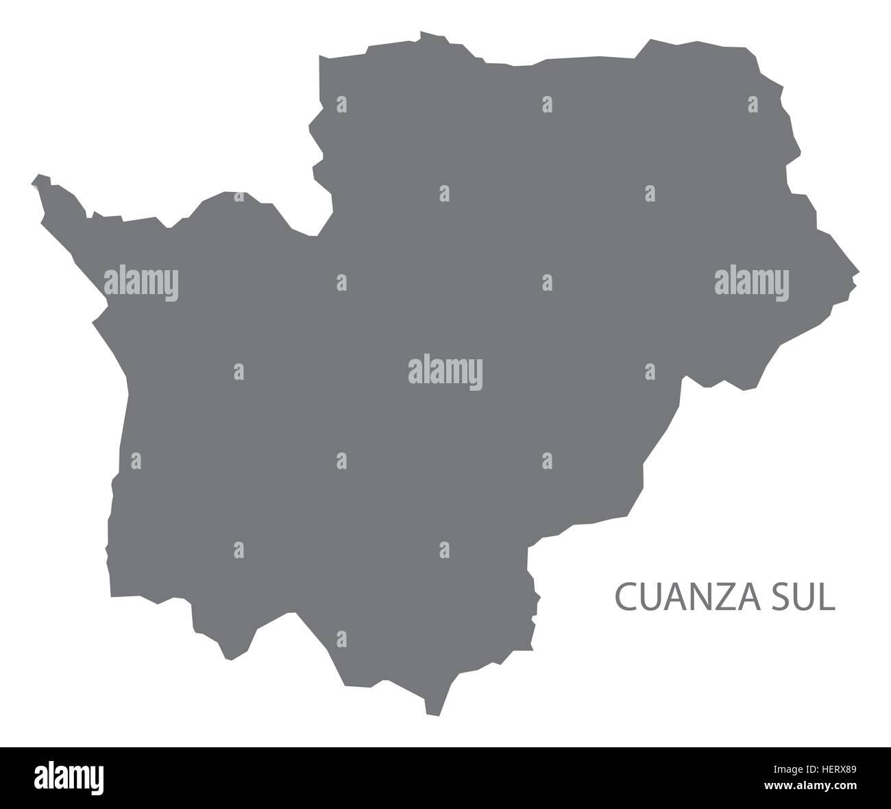 Cuanza Sul Angola Map grey Stock Vector