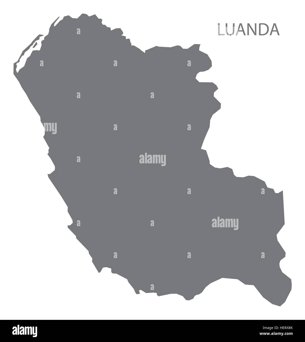 Luanda Angola Map grey - Stock Vector