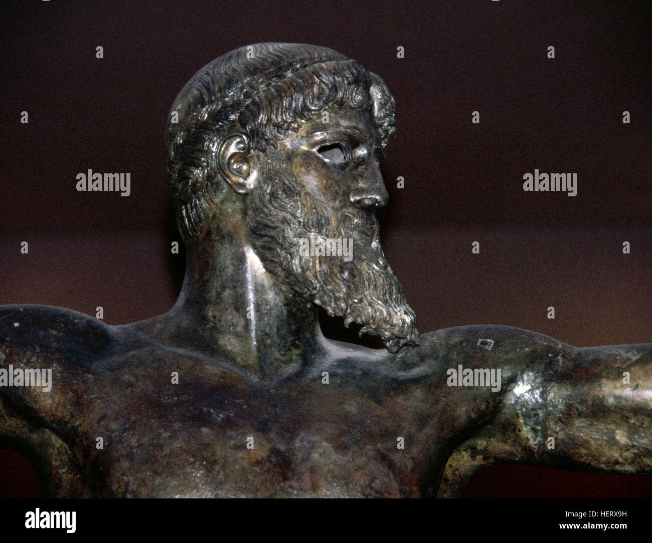 Artemision Bronze. Statue depicting God Zeus or Poseidon. 460 BC. Severe Style. Detail. National Archaeological - Stock Image