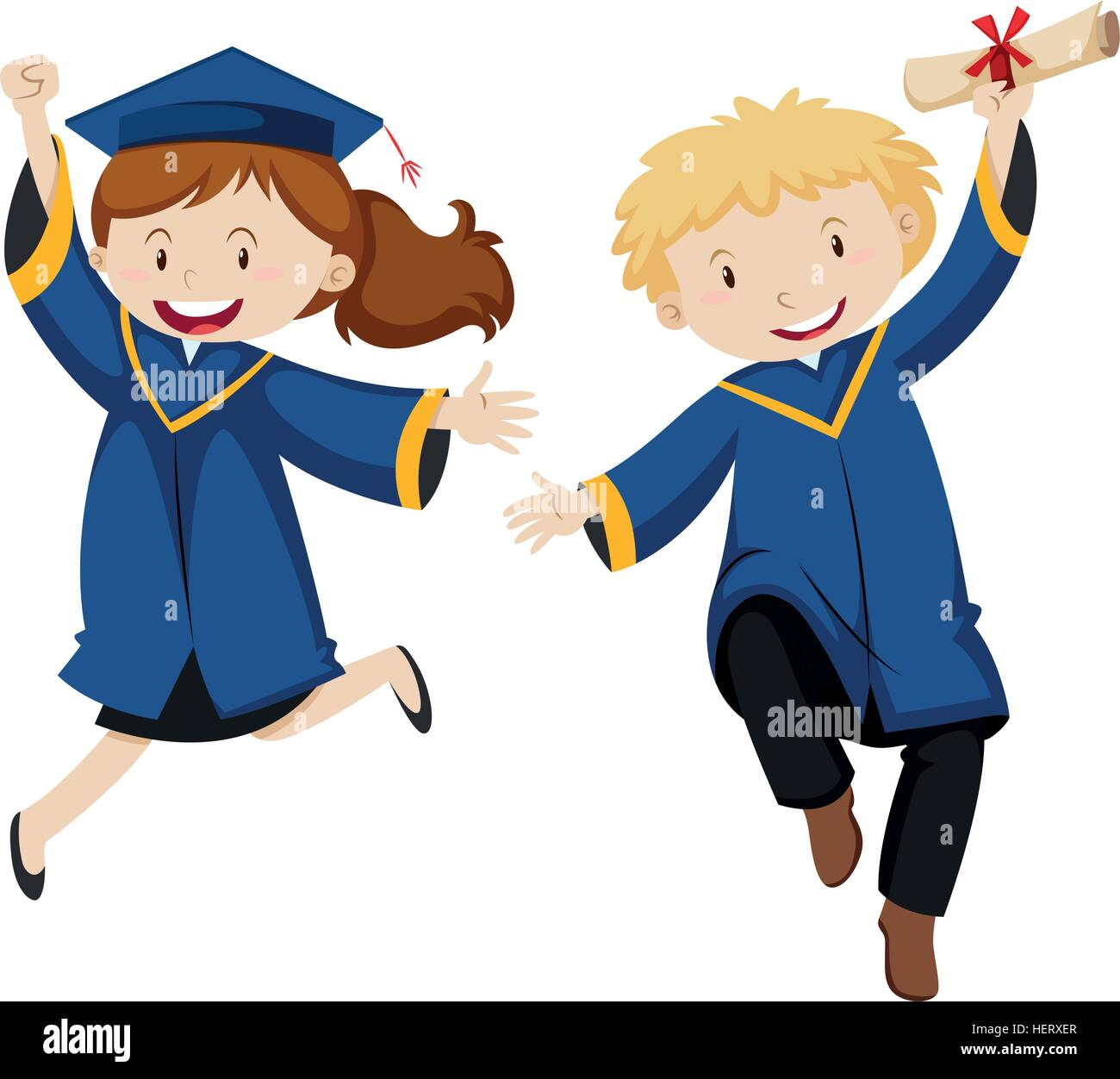 Boy and girl in graduation gown illustration  sc 1 st  Alamy & Boy and girl in graduation gown illustration Stock Vector Art ...