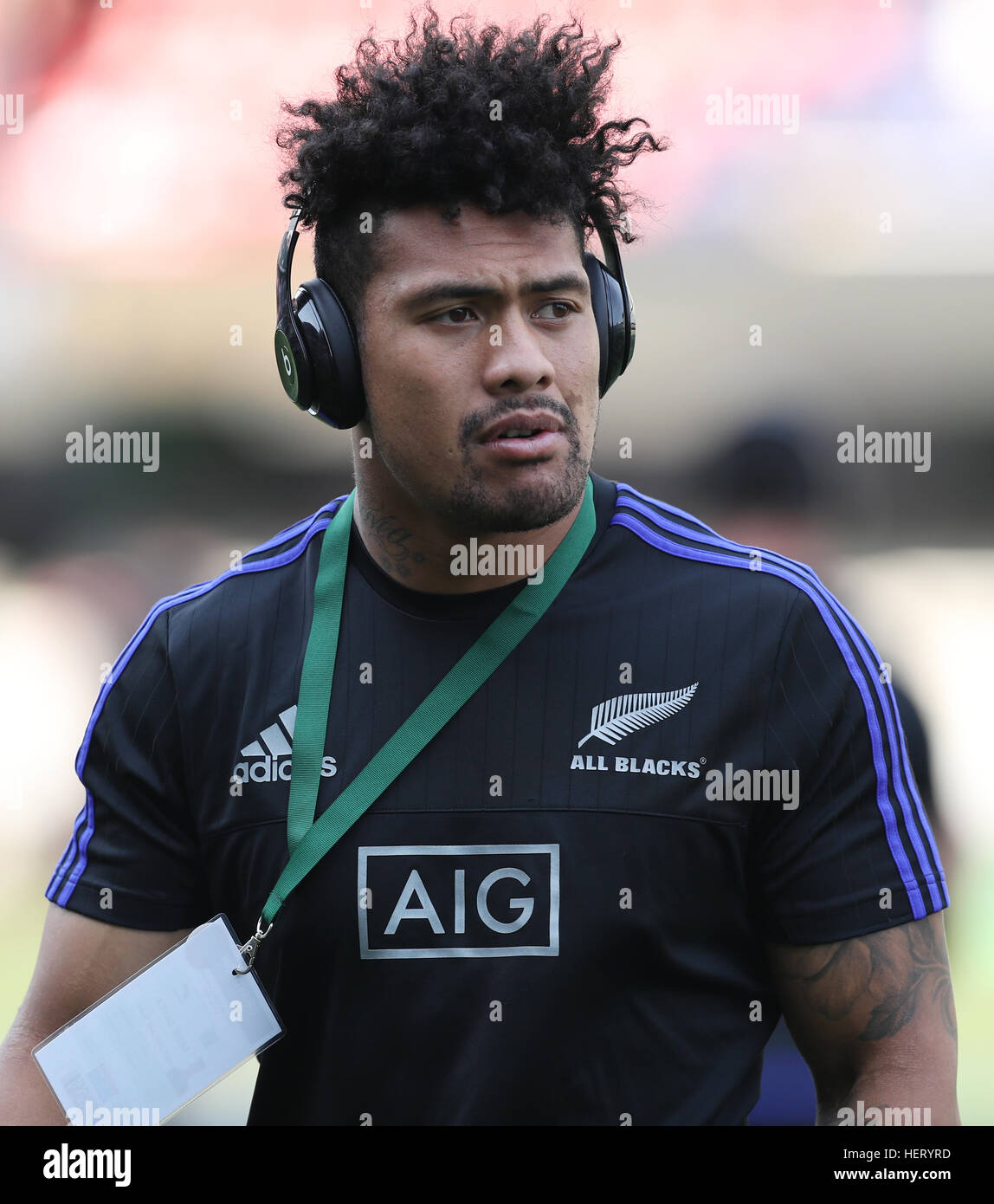 DURBAN, SOUTH AFRICA - OCTOBER 08: Ardie Savea of New Zealand during the The Rugby Championship match between South - Stock Image