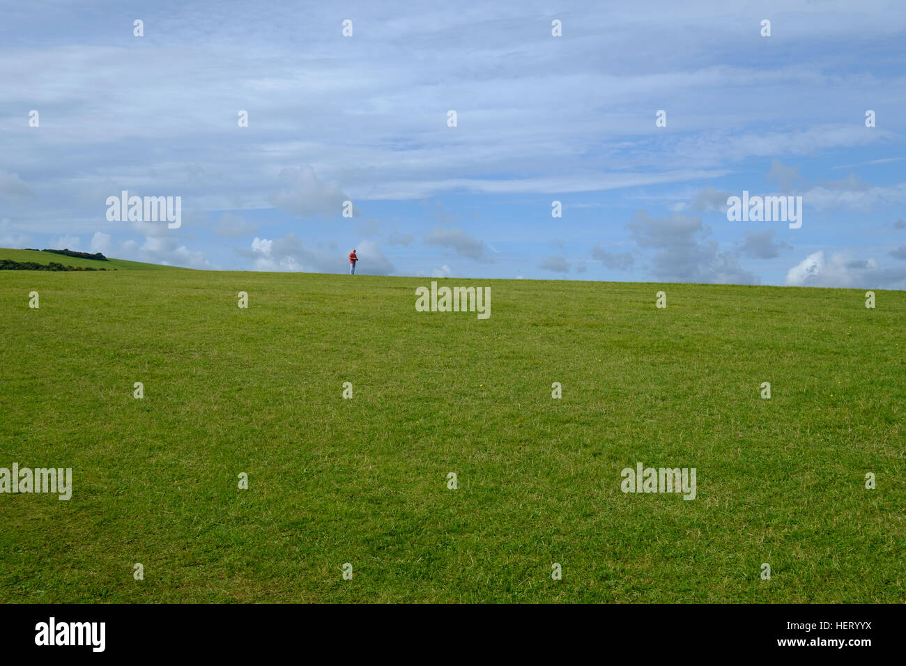 green field and blue sky with a solitary walker in a  red coat in the background - Stock Image