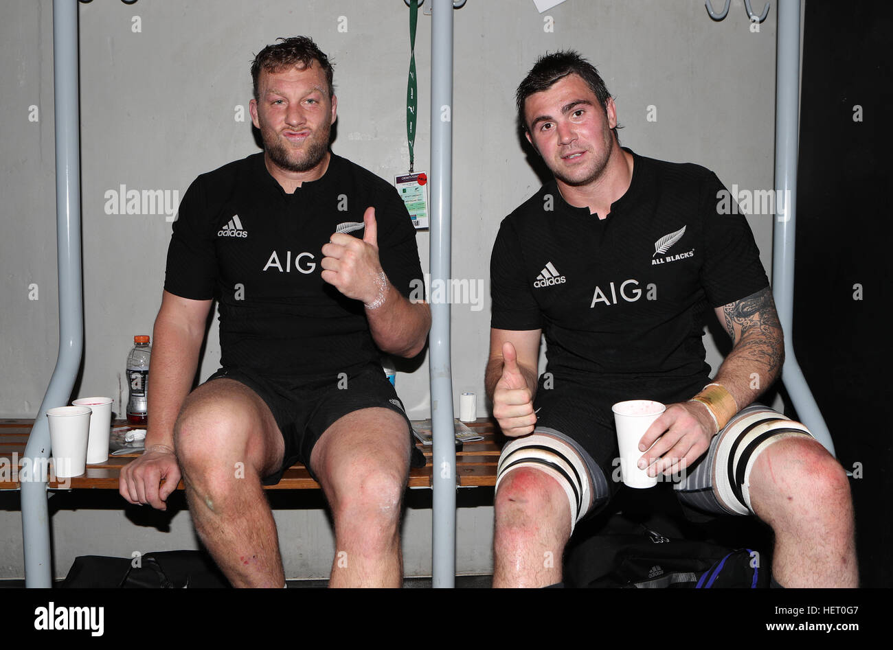 DURBAN, SOUTH AFRICA - OCTOBER 08: Wyatt Crockett  with Liam Squire of New Zealand  during the The Rugby Championship - Stock Image