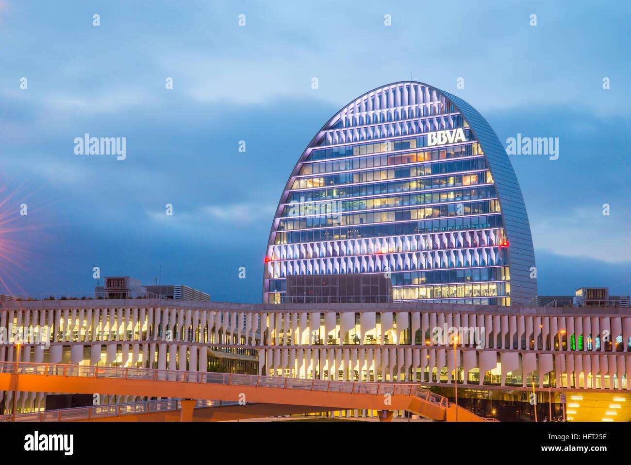 La Vela building, night view. Sanchinarro, Madrid, Spain. - Stock Image