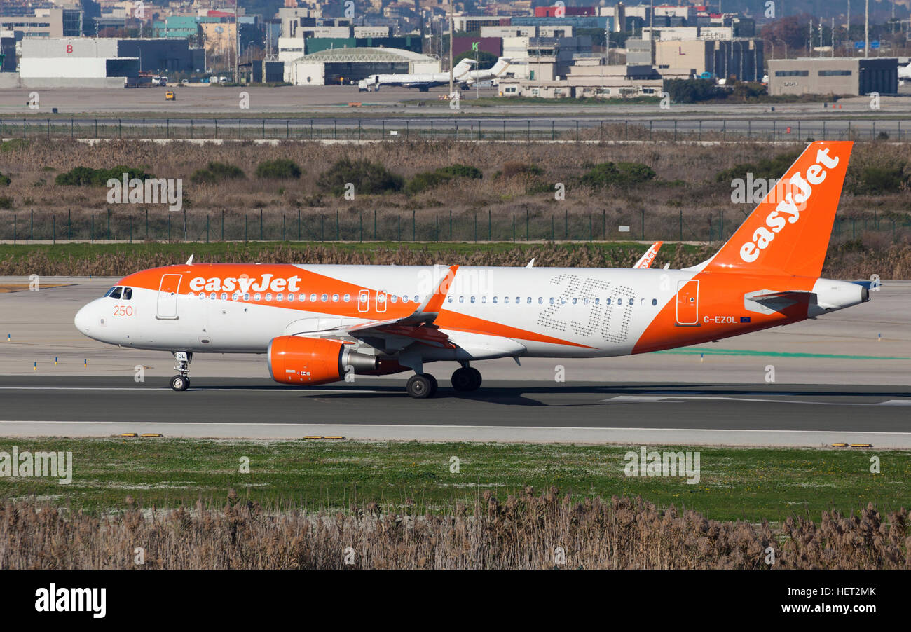 Easyjet Airbus A320 250th Airbus Livery taxiing along the runway at El Prat Airport in Barcelona, Spain. Stock Photo