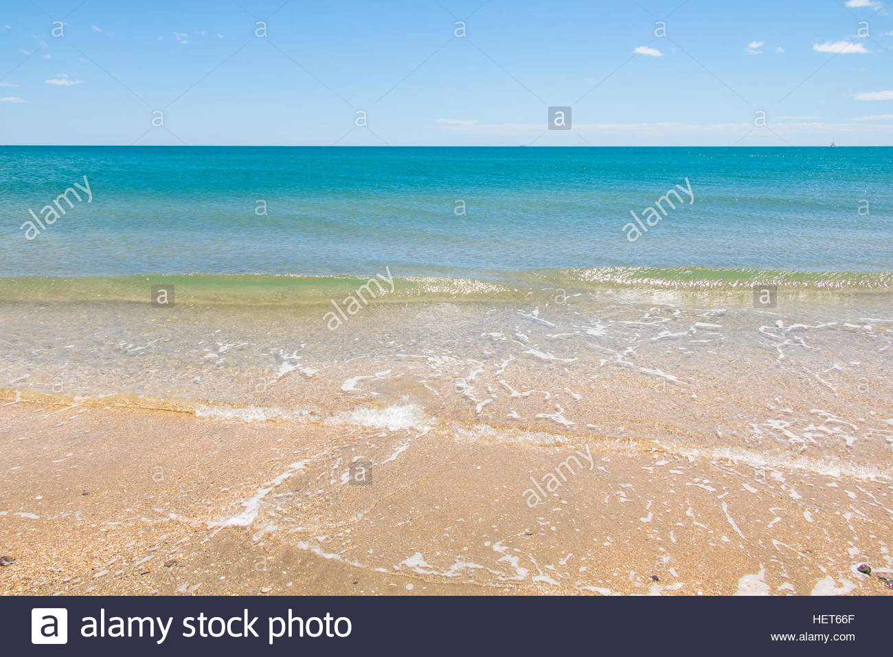 Trendy summer holiday destination, french mediterranean sandy beach beautiful nature landscape beach holiday oceanscape - Stock Image