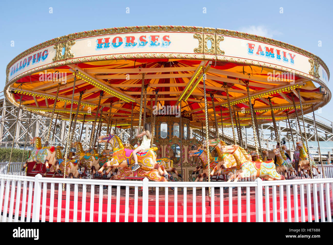 'Galloping Horses' carousel at Dreamland Margate amusement park, Marine Terrace, Margate, Kent, England, - Stock Image