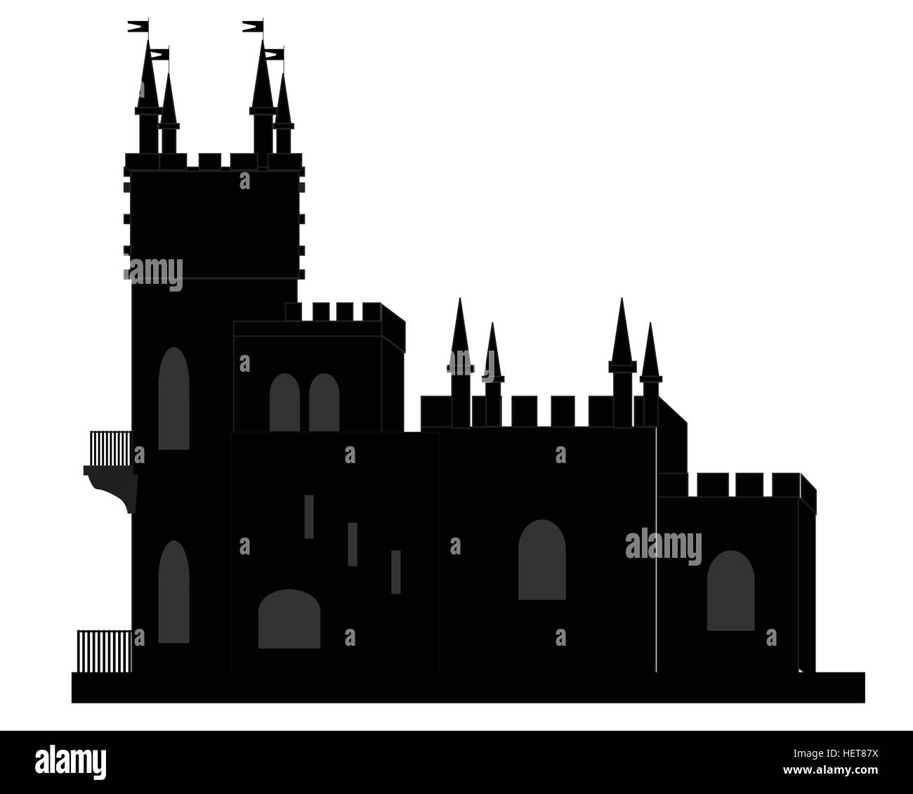 Historic building in black and white colors - Stock Vector