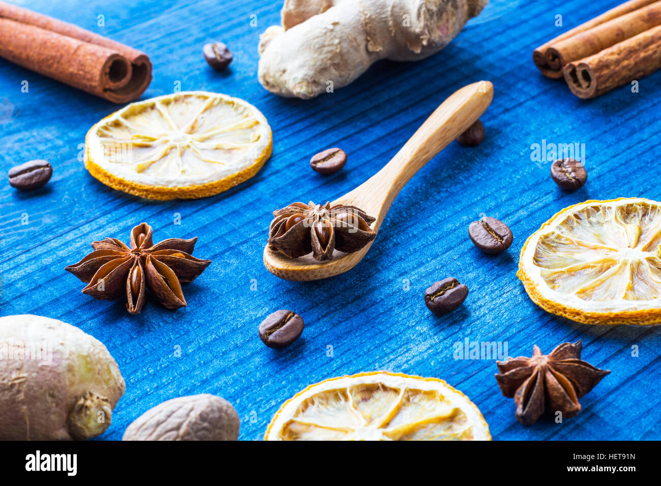 Spices on blue wooden table Stock Photo