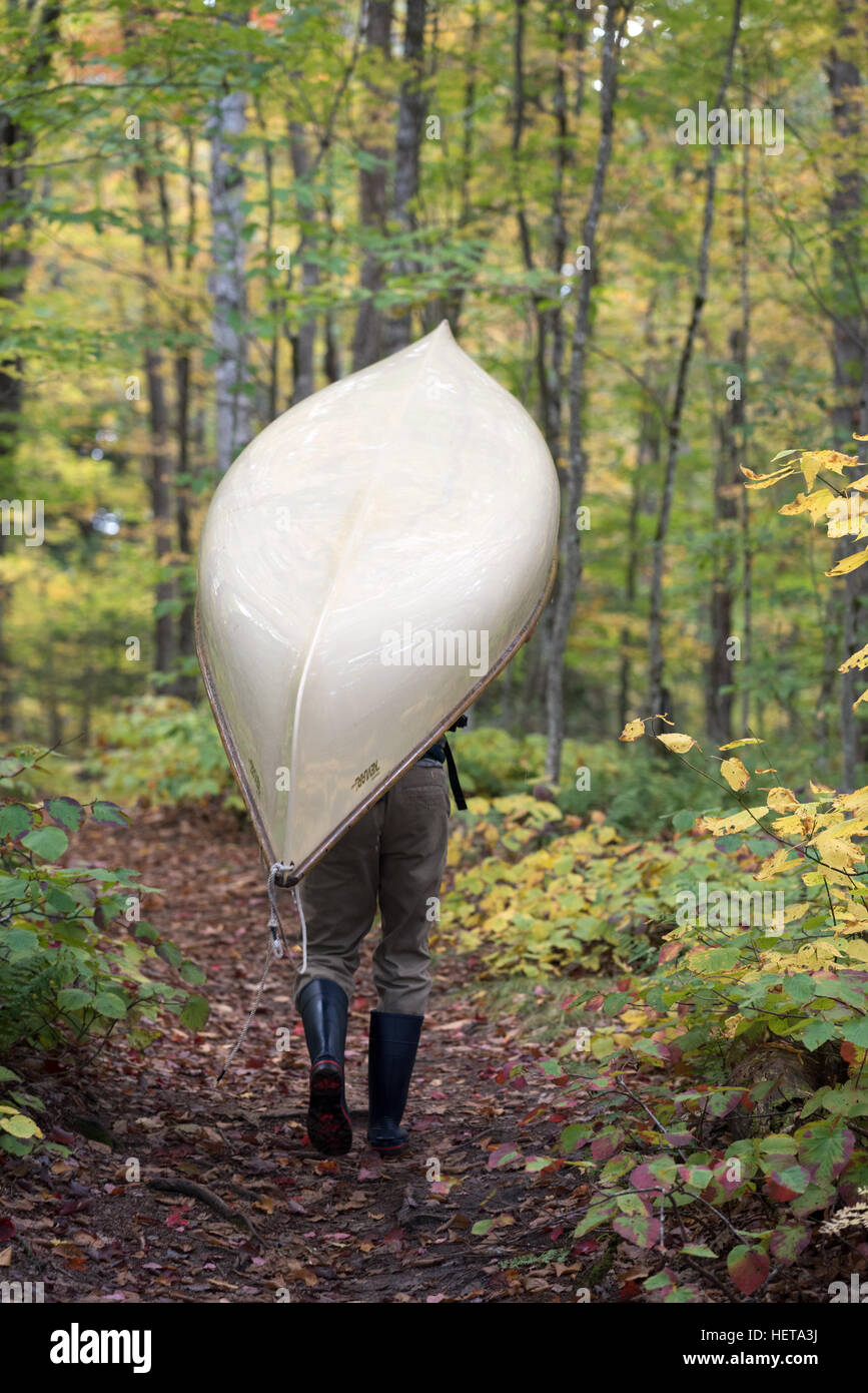 Portaging a canoe in the St. Regis Canoe Area of Adirondack State Park, New York. - Stock Image