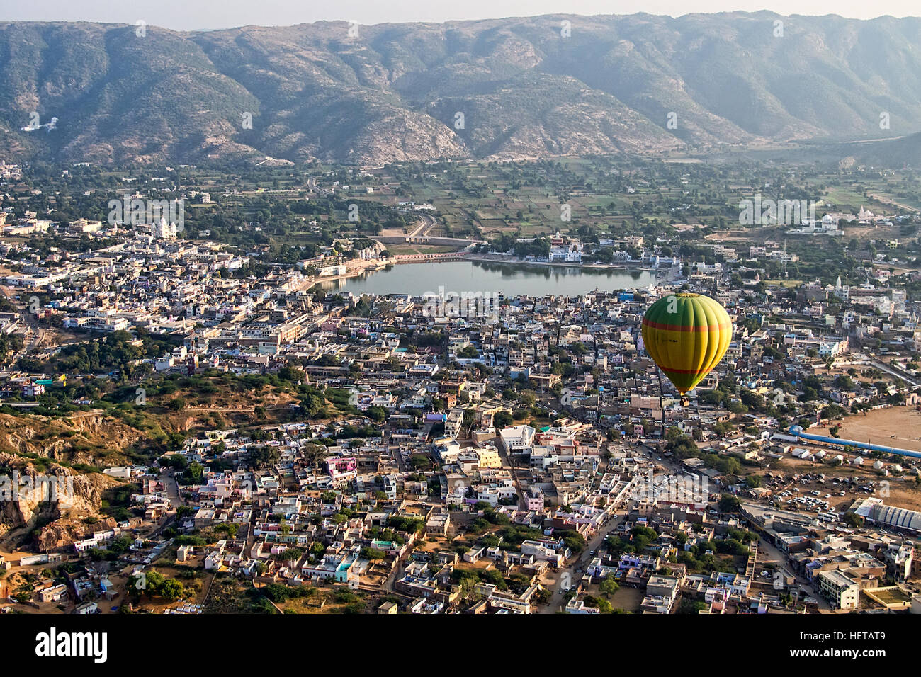 Entire Pushkar Town And Lake From Above From A Hot Air Balloon