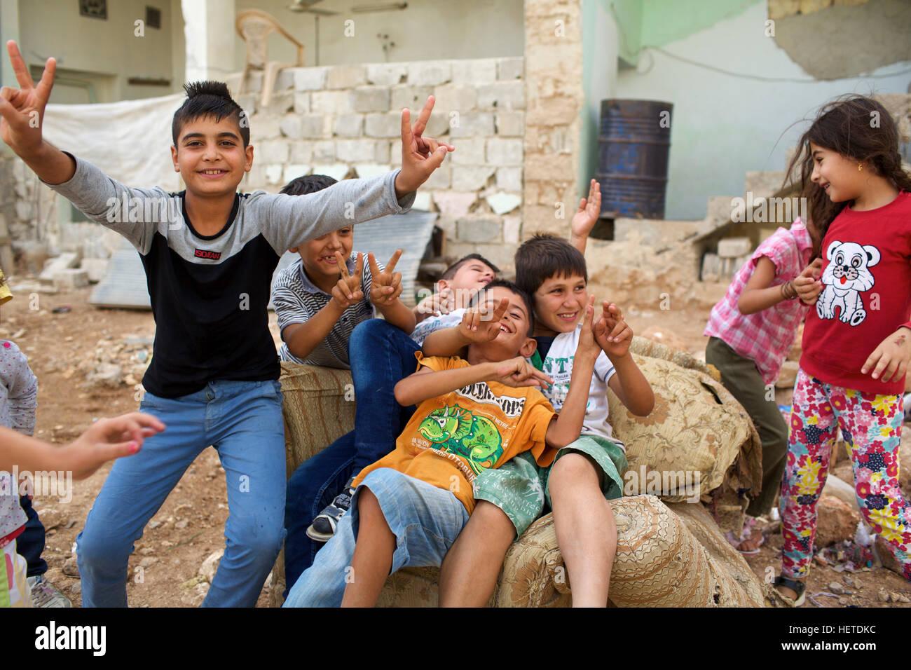 Syria, Rojava: in the streets of Kobani Stock Photo