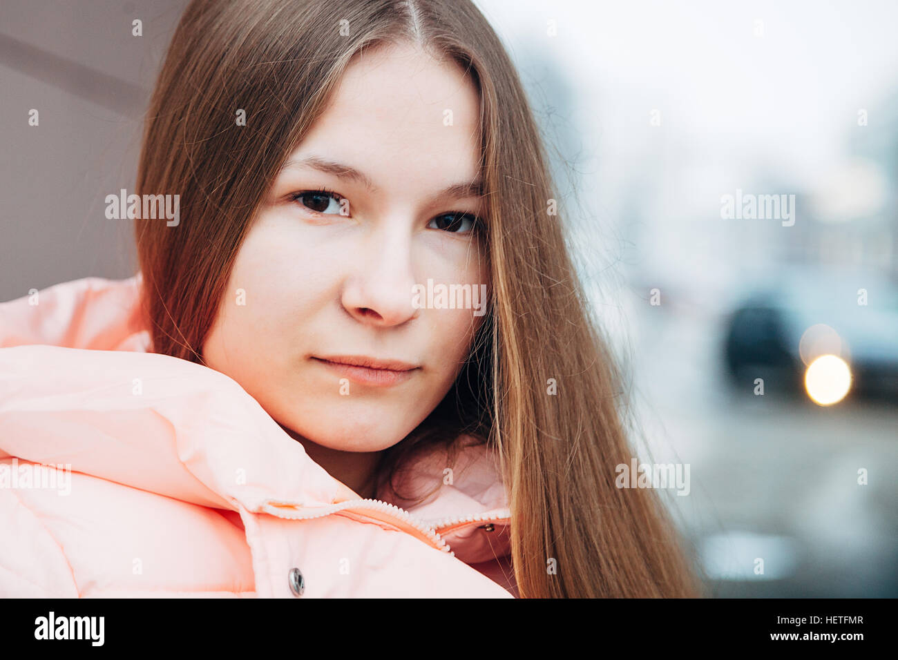 Young woman outdoor portrait horizontal - Stock Image