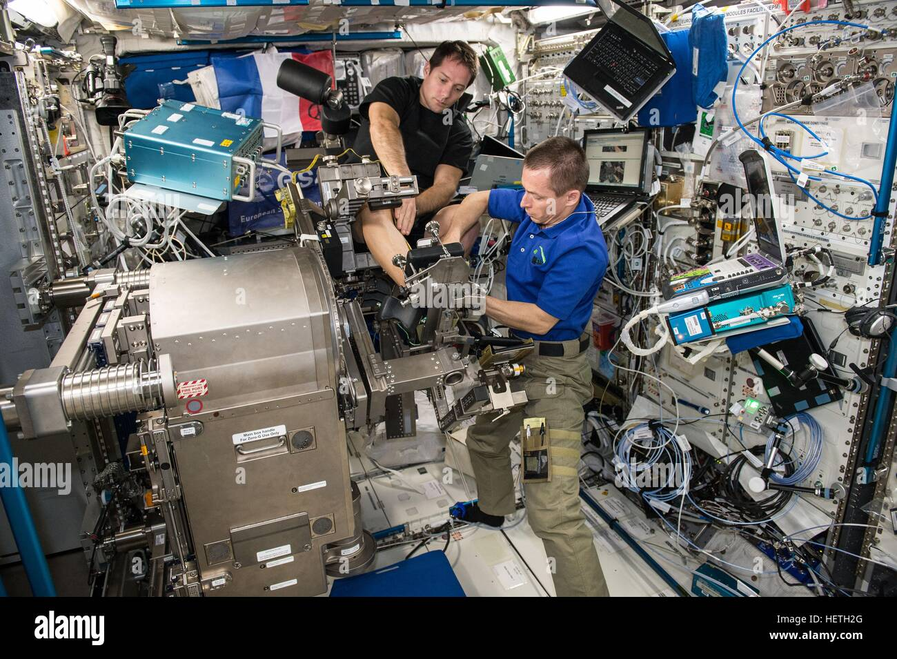 NASA Expedition 50-51 prime crew members French astronaut Thomas Pesquet of the European Space Agency (left) and - Stock Image