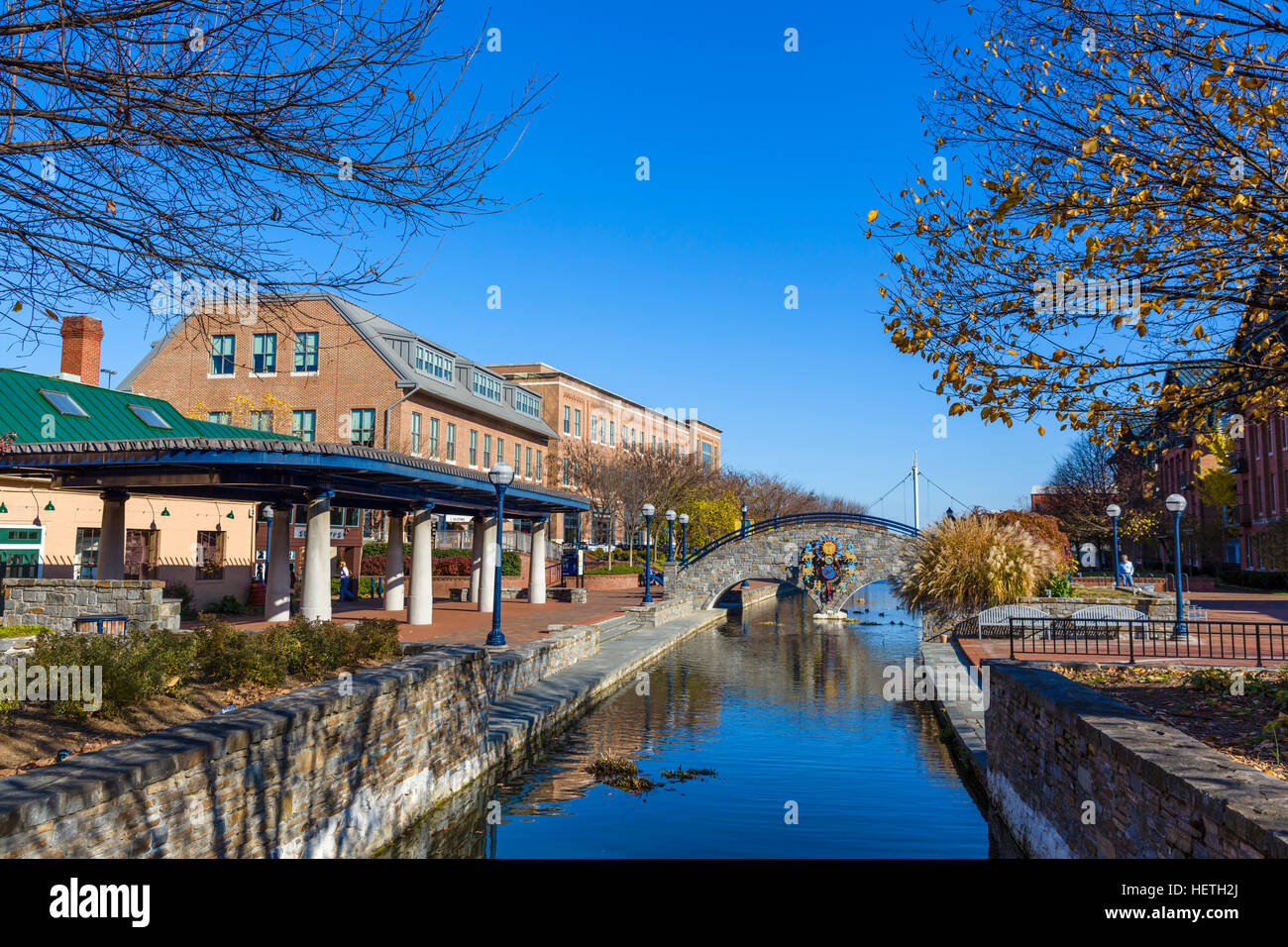 Frederick, Maryland. Carroll Creek Park from Market Street in downtown Frederick, MD, USA - Stock Image