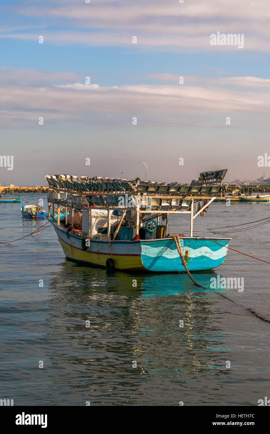 Gaza City Seaport - A Boat ... - Stock Image