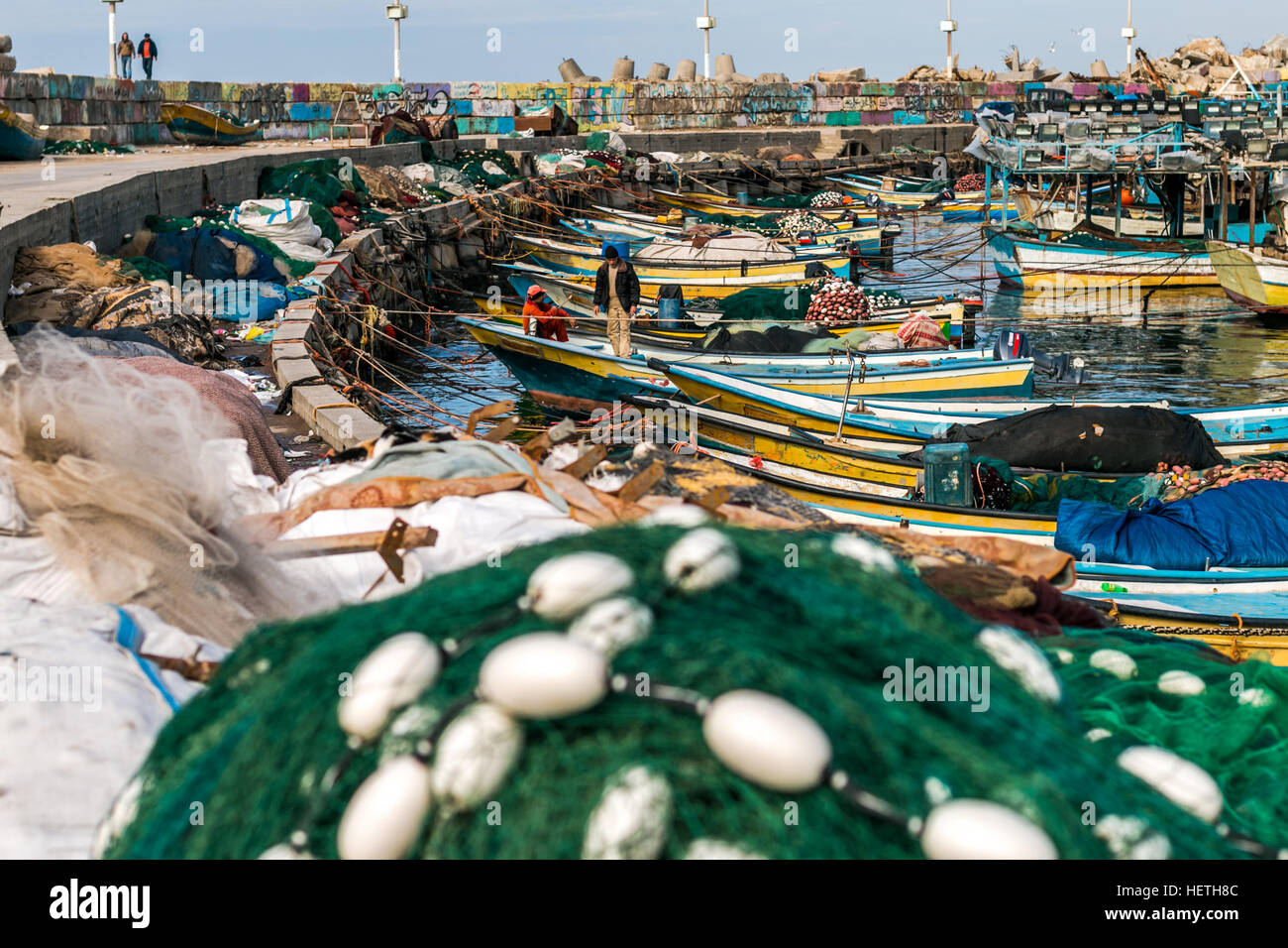 Gaza City Harbor Seaport boats Fishing Nets - Stock Image