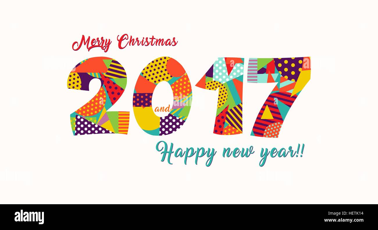 Happy New Year 2017 greeting card design, holiday quote with fun ...