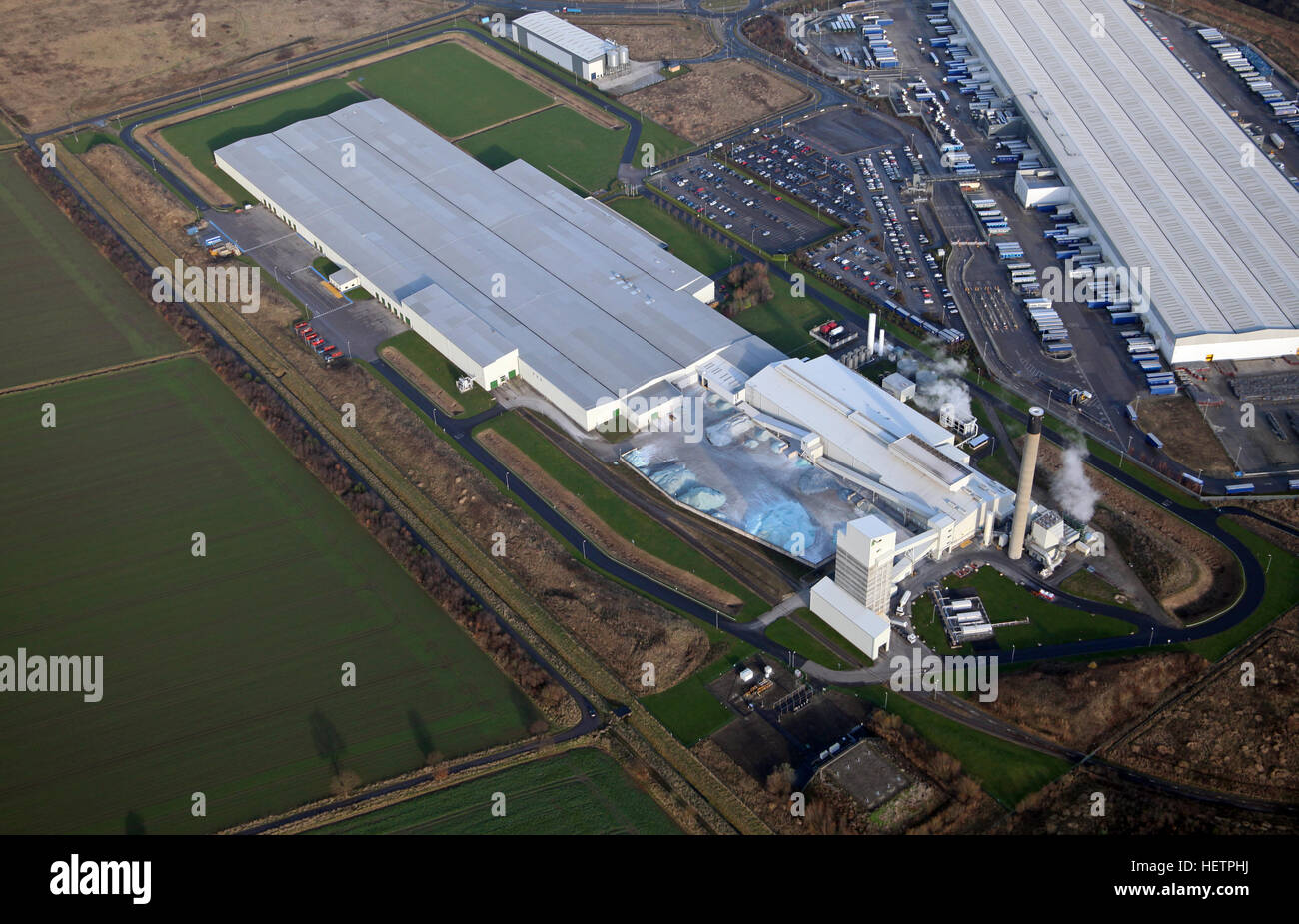 aerial view of Guardian Industries UK Ltd glass factory at Goole, East Yorkshire, UK - Stock Image