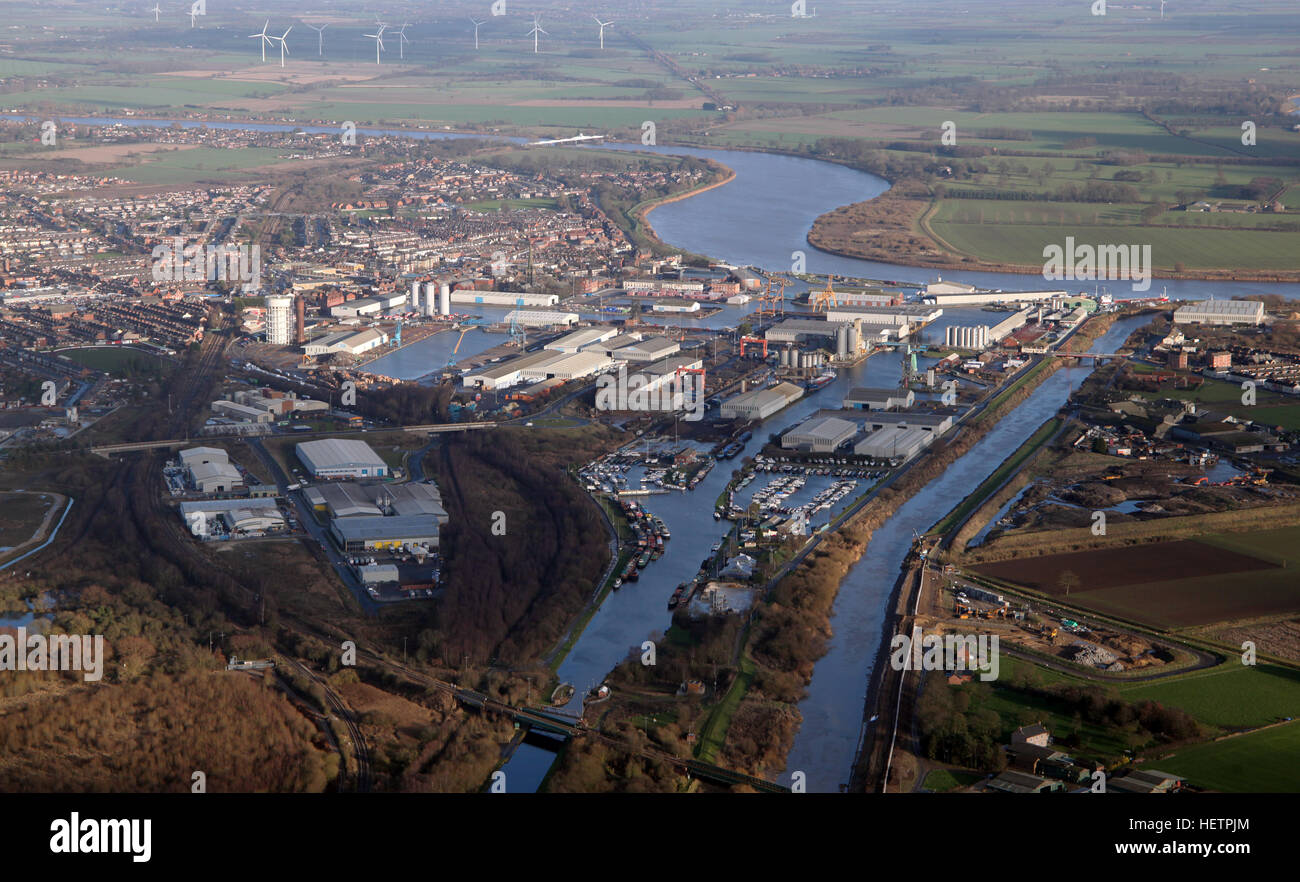 aerial view of the East Yorkshire town port of Goole, UK - Stock Image