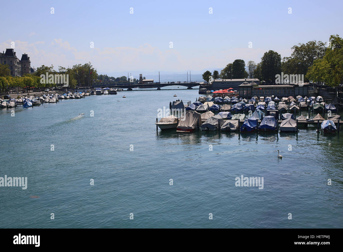 View of Zurich embankment (Limmatquai) - Stock Image