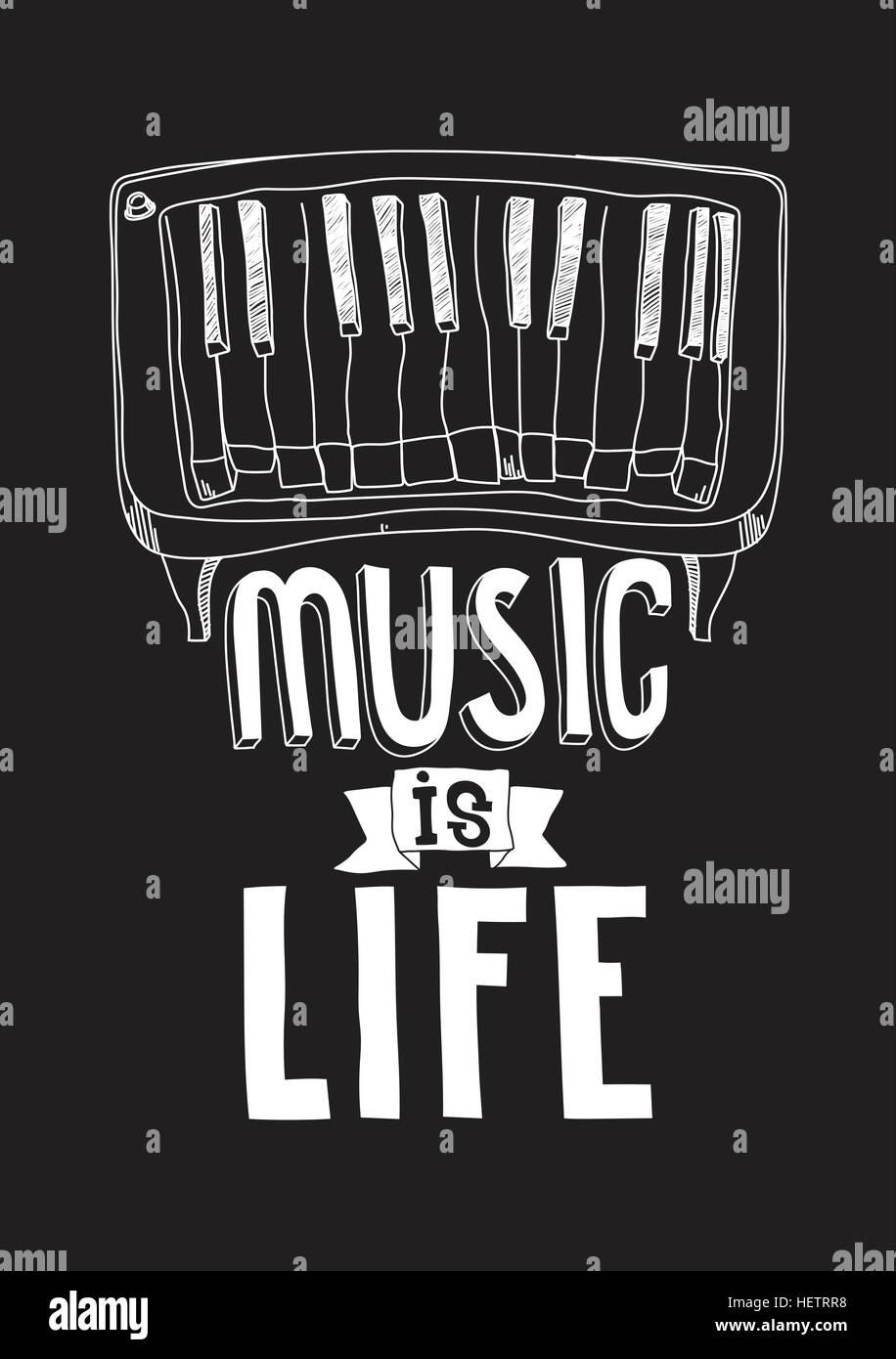 Music Is Life Simple Inspirational Motivational Quote Poster With
