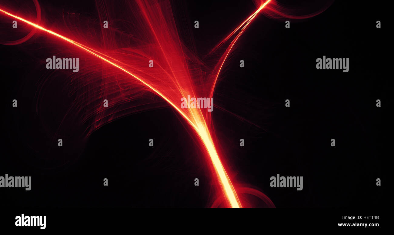 Abstract Design In Red And Yellow Lines Curves Particles On Dark Background Stock Photo