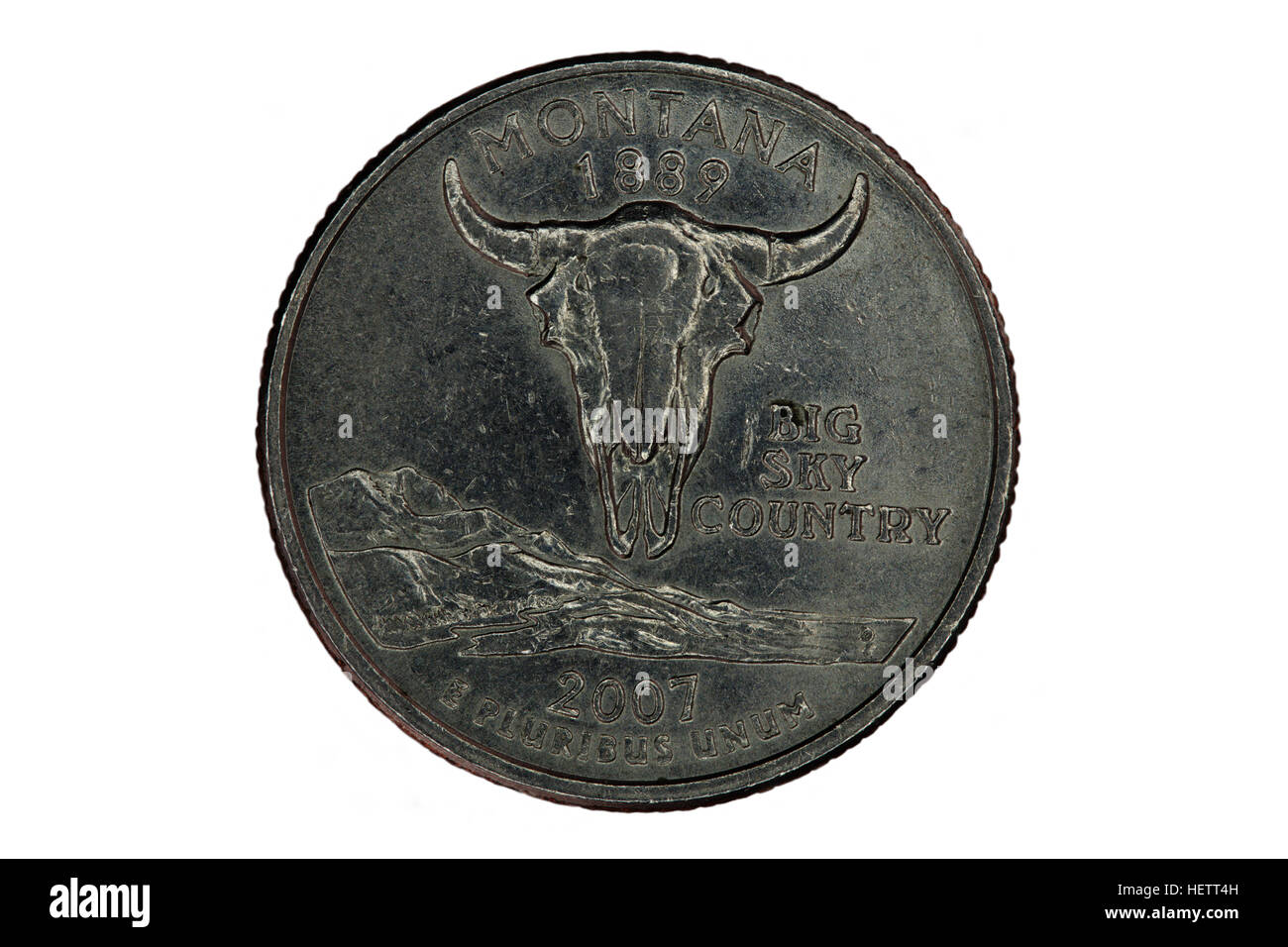 United States Quarter For Montana Tail Side Against White Background Stock Photo