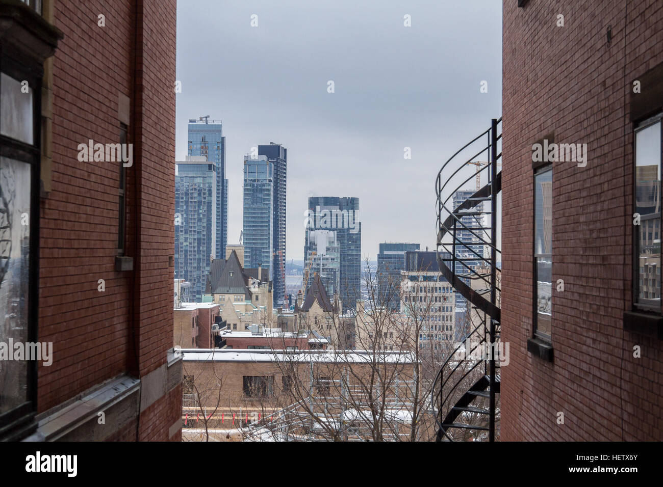 View of Montreal Skyline in winter - Stock Image