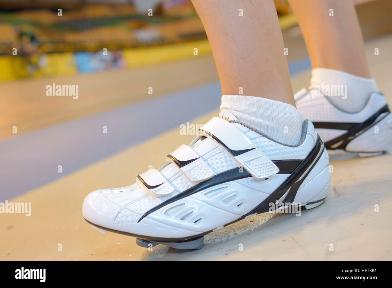 Closeup of cycling shoes - Stock Image