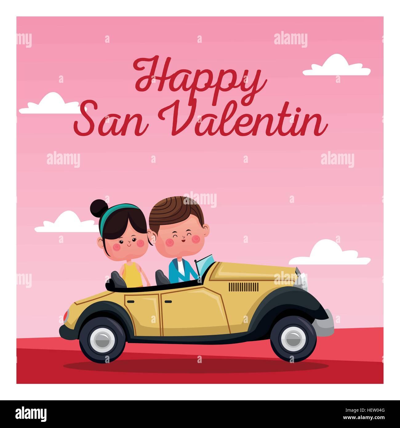 happy san valentine card classic car pink landscape Stock Vector