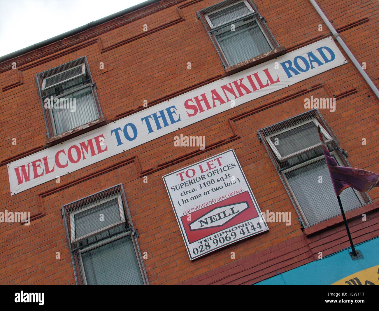 Shankill Road Mural -Welcome To The Shankill Road, West Belfast, Northern Ireland, UK - Stock Image